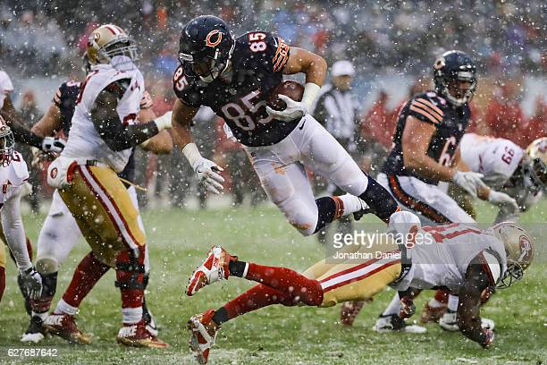 Daniel Brown of the Chicago Bears flys through the air in the third quarter against the San Francisco 49ers at Soldier Field on December 4 2016 in...
