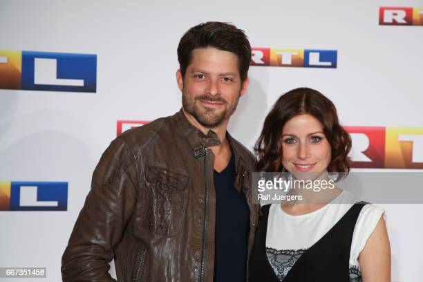 Daniel Bruder and Katrin Hess attend the premiere of the film 'Gaby Koester Ein Schnupfen haette auch gereicht' at Residenz Kino on April 11 2017 in...
