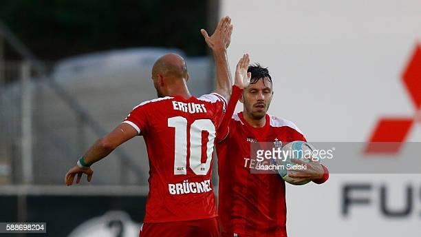 Daniel Brueckner and Goalgetter Carsten Kammlott of Erfurt celebration the Goal 22 for Erfurt during the third league match between SF Lotte and...