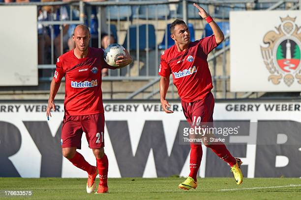 Daniel Brueckner and Mahir Saglik of Paderborn celebrate their teams first goal during the Second Bundesliga match between Arminia Bielefeld and SC...