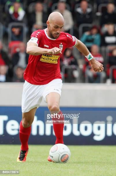 Daniel Brueckner of Erfurt during the 3Liga match between FC Rot Weiss Erfurt and FC Carl Zeiss Jena at Steigerwaldstadion on September 09 2017 in...