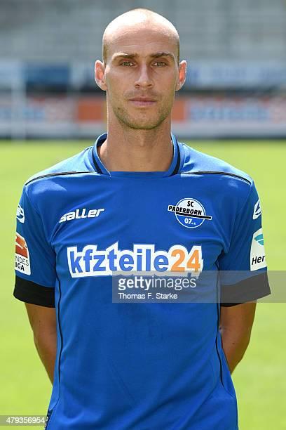 Daniel Brueckner poses during the Second Bundesliga team presentation of SC Paderborn at the Benteler Arena on July 3 2015 in Paderborn Germany