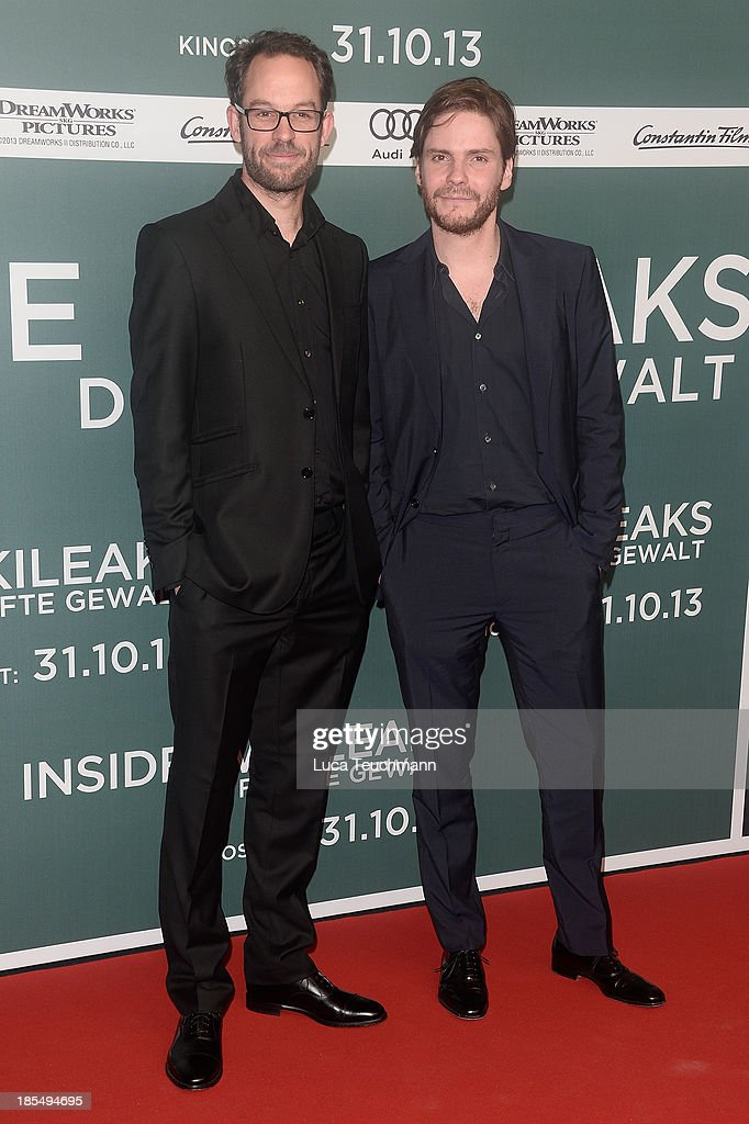 Daniel Bruehl and <a gi-track='captionPersonalityLinkClicked' href=/galleries/search?phrase=Daniel+Domscheit-Berg&family=editorial&specificpeople=7414798 ng-click='$event.stopPropagation()'>Daniel Domscheit-Berg</a> attend the 'Inside Wikileaks' Germany Premiere at Kulturbrauerei on October 21, 2013 in Berlin, Germany.