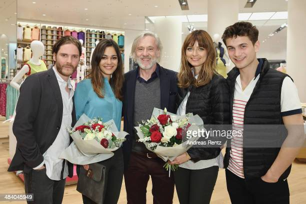 Daniel Bruehl Nilam M Farooq Roland Mary Eva Padberg and Samuel Schneider attend the Uniqlo PreOpening Party on April 10 2014 in Berlin Germany