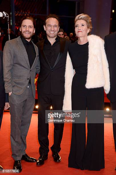 Daniel Bruehl Vincent Perez and Emma Thompson attend the 'Alone in Berlin' premiere during the 66th Berlinale International Film Festival Berlin at...