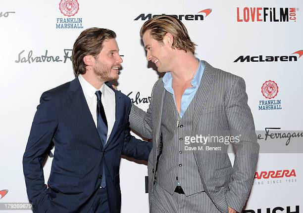 Daniel Bruhl and Chris Hemsworth attend the World Premiere of 'Rush' at Odeon Leicester Square on September 2 2013 in London England