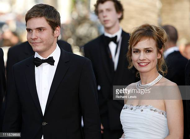 Daniel Bruhl and Sandrine Bonnaire during 2006 Cannes Film Festival 'Indigenes' Premiere at Palais des Festival in Cannes France