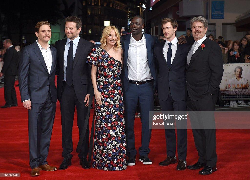 Daniel Bruhl Bradley Cooper Sienna Miller Omar Sy Sam Keeley and John Wells attend the UK Film Premiere of 'Burnt' at Vue West End on October 28 2015...