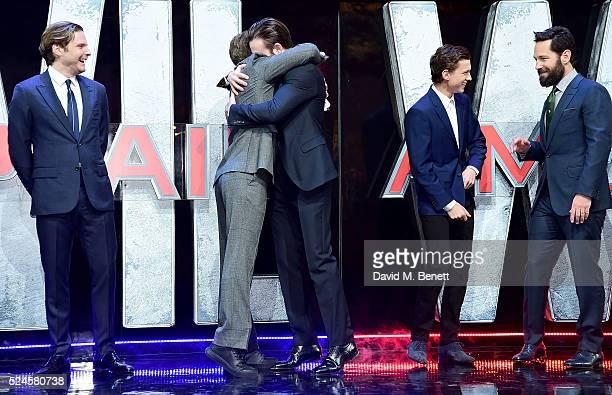 Daniel Bruhl Robert Downey Jr Chris Evans Tom Holland and Paul Rudd attend the European Premiere of 'Captain America Civil War' at Vue Westfield on...