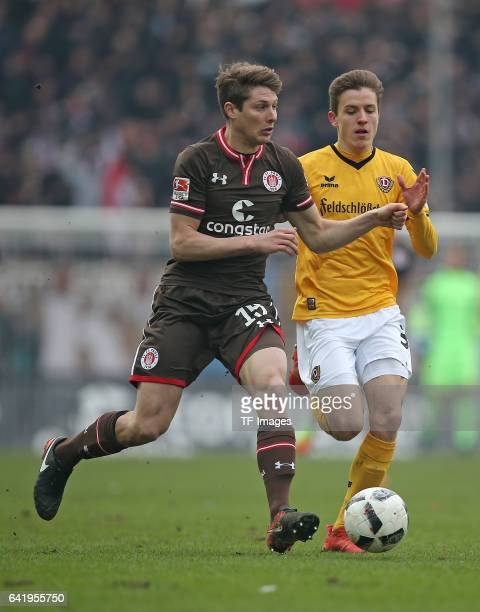 Daniel Buballa of St Pauli and Niklas Hauptmann of Dynamo Dresden battle for the ball during the Second Bundesliga match between FC St Pauli and SG...