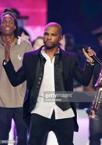 Daniel Caesar and Kirk Franklin perform onstage at the 2017 Soul Train Awards presented by BET at the Orleans Arena on November 5 2017 in Las Vegas...