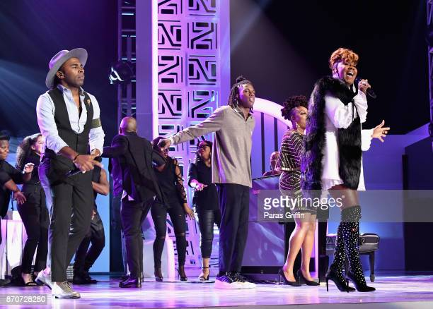MAJOR Daniel Caesar and Le'Andria Johnson perform onstage at the 2017 Soul Train Awards presented by BET at the Orleans Arena on November 5 2017 in...