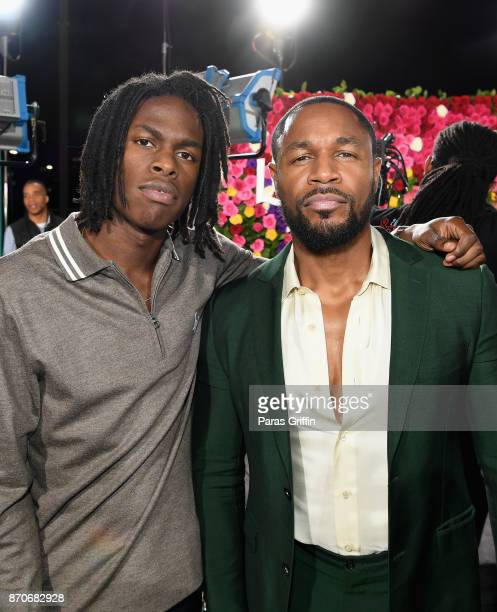 Daniel Caesar and Tank attend the 2017 Soul Train Awards presented by BET at the Orleans Arena on November 5 2017 in Las Vegas Nevada
