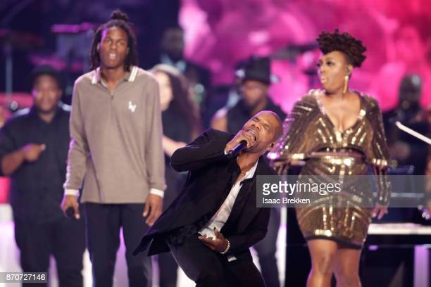 Daniel Caesar Kirk Franklin and Ledisi perform onstage at the 2017 Soul Train Awards presented by BET at the Orleans Arena on November 5 2017 in Las...