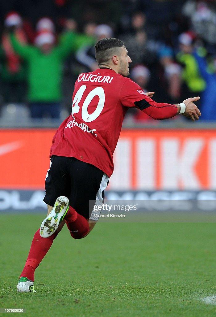 Daniel Caligiuri of Freiburg celebrates his 1:0 during the Bundesliga match between SC Freiburg and SpVgg Greuther Fuerth at Mage Solar Stadium on December 8, 2012 in Freiburg, Germany.