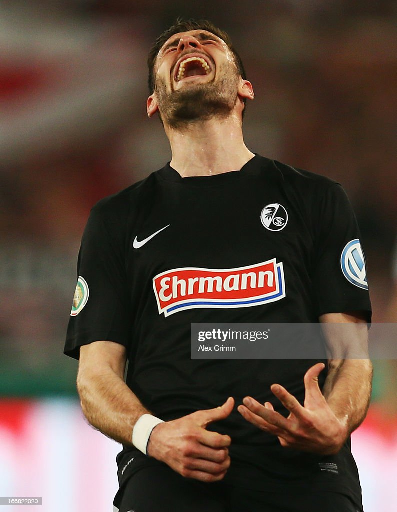 Daniel Caligiuri of Freiburg reacts during the DFB Cup Semi Final match between VfB Stuttgart and SC Freiburg at Mercedes-Benz Arena on April 17, 2013 in Stuttgart, Germany.