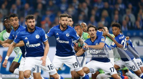 Daniel Caligiuri of Schalke 04 Guido Burgstaller of Schalke 04 Benjamin Stambouli of Schalke 04 Thilo Kehrer of Schalke 04 during the German...