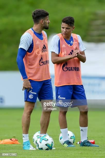Daniel Caligiuri of Schalke and Amine Harit of Schalke looks on during the Training Camp of FC Schalke 04 on July 30 2017 in Mittersill Austria