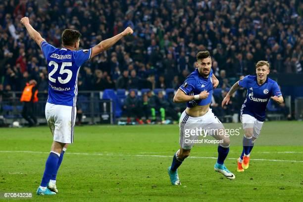 Daniel Caligiuri of Schalke C celebrates the third goal with KlaasJan Huntelaar and Max Meyer of Schalke during the UEFA Europa League quarter final...