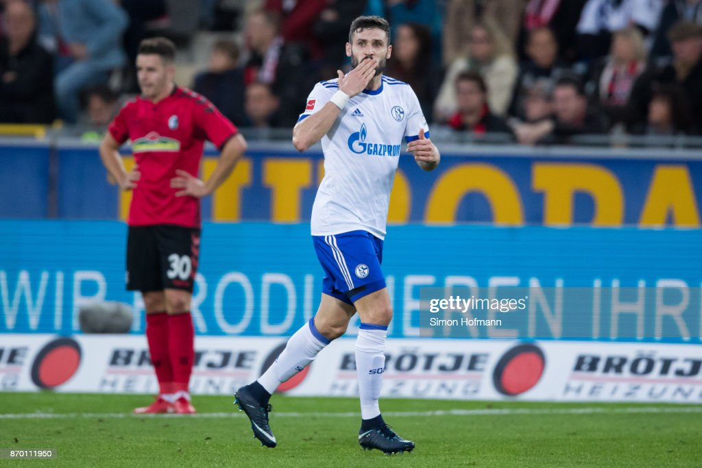 Daniel Caligiuri of Schalke celebrates his team's first goal during the Bundesliga match between Sport-Club Freiburg and FC Schalke 04 at Schwarzwald-Stadion on November 4, 2017 in Freiburg im Breisgau, Germany.