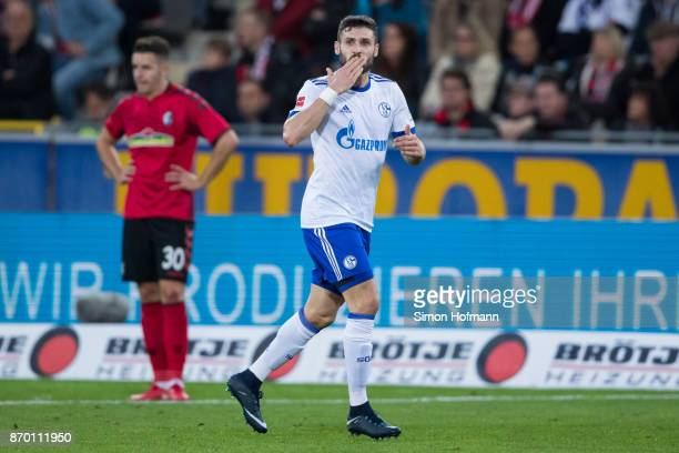 Daniel Caligiuri of Schalke celebrates his team's first goal during the Bundesliga match between SportClub Freiburg and FC Schalke 04 at...