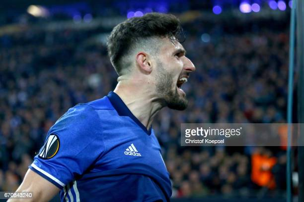 Daniel Caligiuri of Schalke celebrates the third goal during the UEFA Europa League quarter final second leg match between FC Schalke 04 and Ajax...