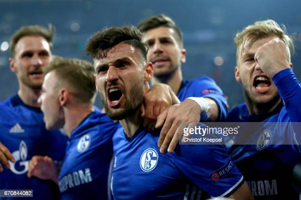 Daniel Caligiuri of Schalke celebrates the third goal with his team mates during the UEFA Europa League quarter final second leg match between FC...
