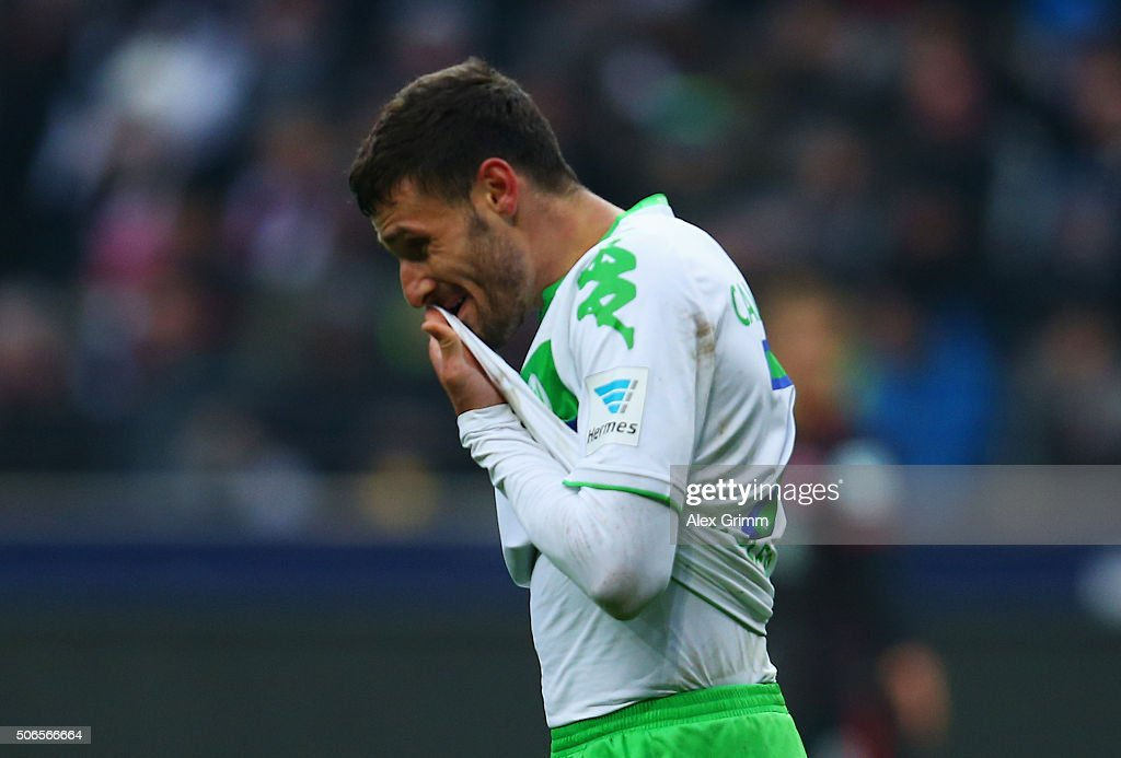 <a gi-track='captionPersonalityLinkClicked' href=/galleries/search?phrase=Daniel+Caligiuri&family=editorial&specificpeople=6495349 ng-click='$event.stopPropagation()'>Daniel Caligiuri</a> of VfL Wolfsburg reacts during the Bundesliga match between Eintracht Frankfurt and VfL Wolfsburg at Commerzbank-Arena on January 24, 2016 in Frankfurt am Main, Germany.
