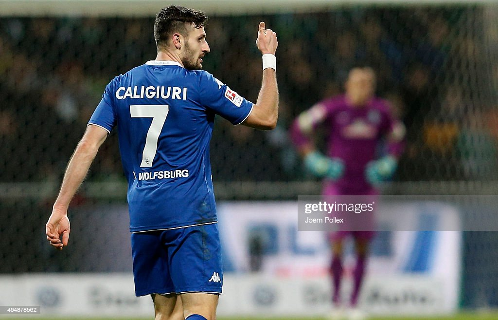 <a gi-track='captionPersonalityLinkClicked' href=/galleries/search?phrase=Daniel+Caligiuri&family=editorial&specificpeople=6495349 ng-click='$event.stopPropagation()'>Daniel Caligiuri</a> of Wolfsburg celebrates after scoring his team's fifth goal during the Bundesliga match between SV Werder Bremen and VfL Wolfsburg at Weserstadion on March 1, 2015 in Bremen, Germany.