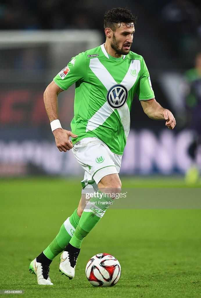 <a gi-track='captionPersonalityLinkClicked' href=/galleries/search?phrase=Daniel+Caligiuri&family=editorial&specificpeople=6495349 ng-click='$event.stopPropagation()'>Daniel Caligiuri</a> of Wolfsburg in action during the Bundesliga match between VfL Wolfsburg and 1899 Hoffenheim at Volkswagen Arena on February 7, 2015 in Wolfsburg, Germany.