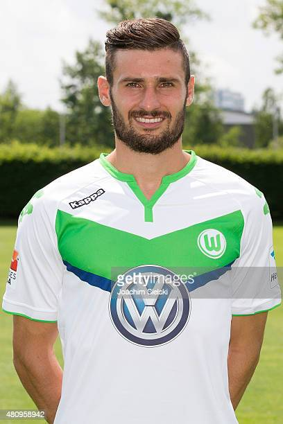 Daniel Caligiuri poses during the team presentation of VfL Wolfsburg at Volkswagen Arena on July 16 2015 in Wolfsburg Germany
