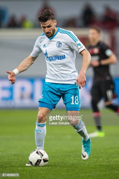 Daniel Caliguri of Schalke in action during the Bundesliga match between Bayer 04 Leverkusen and FC Schalke 04 at BayArena on April 28 2017 in...
