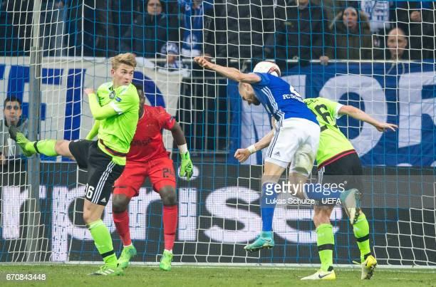 Daniel Caliguri of Schalke scores his teams third goal during the UEFA Europa League quarter final second leg match between FC Schalke 04 and Ajax...