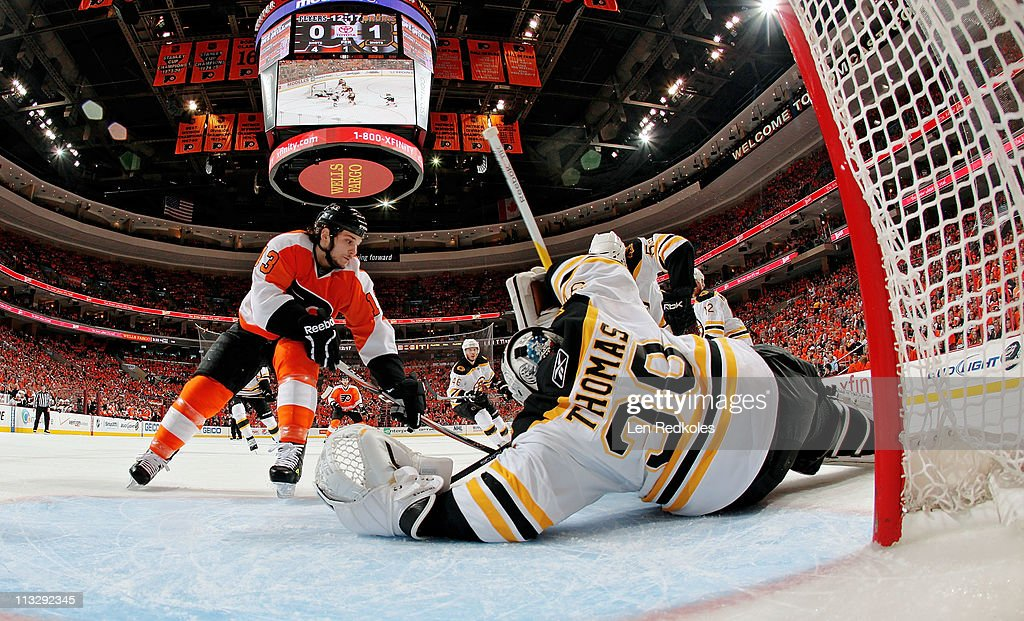Daniel Carcillo #13 of the Philadelphia Flyers skates in for a shot on goaltender Tim Thomas #30 of the Boston Bruins in Game One of the Eastern Conference Semifinals during the 2011 NHL Stanley Cup Playoffs at the Wells Fargo Center on April 30, 2011 in Philadelphia, Pennsylvania.