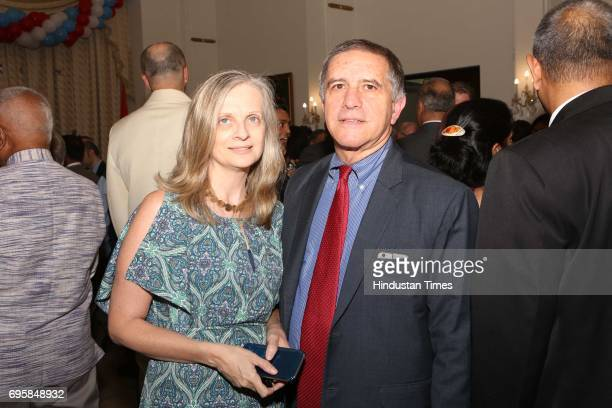 Daniel Carmon and Ditzu Froim during the celebration of the National Day of Russia hosted by the Embassy of the Russian Federation on June 12 2017 in...