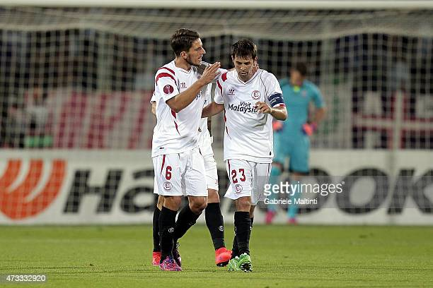 Daniel Carrico of FC Sevilla celebrates after scoring a goal during the UEFA Europa League Semi Final match between ACF Fiorentina and FC Sevilla on...