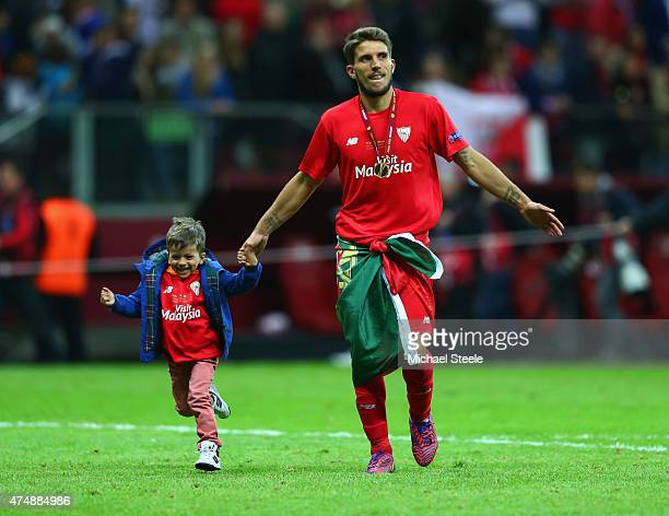 Daniel Carrico of Sevilla celebrates after the UEFA Europa League Final match between FC Dnipro Dnipropetrovsk and FC Sevilla on May 27 2015 in...