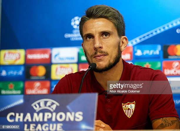Daniel Carrico of Sevilla FC attends to the press during the press conference prior to their match of UEFA Champions League between Sevilla FC vs GNK...