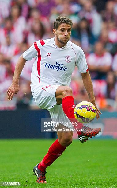 Daniel Carrico ofÊSevilla FC controls the ball during the La Liga match between Athletic Club and Sevilla FC at San Mames Stadium on November 2 2014...