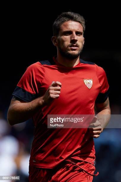 Daniel Carrio of Sevilla FC looks on prior to the La Liga match between Valencia CF and Sevilla FC at Mestalla stadium on April 16 2017 in Valencia...