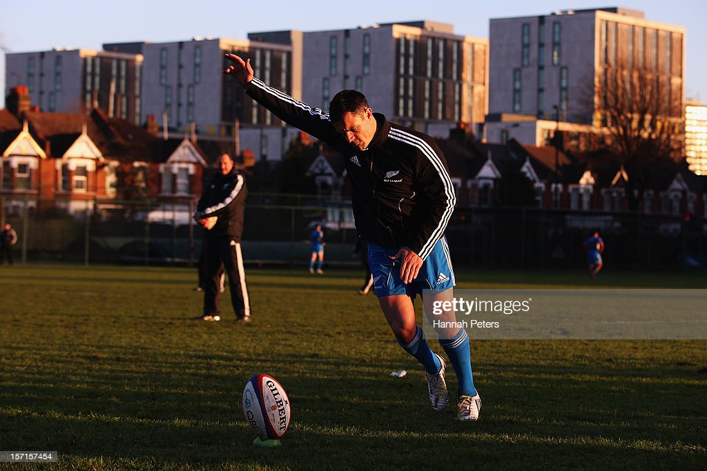 Daniel Carter of the All Blacks practices his kicking during a training session at Latymers Upper School on November 29, 2012 in London, England.