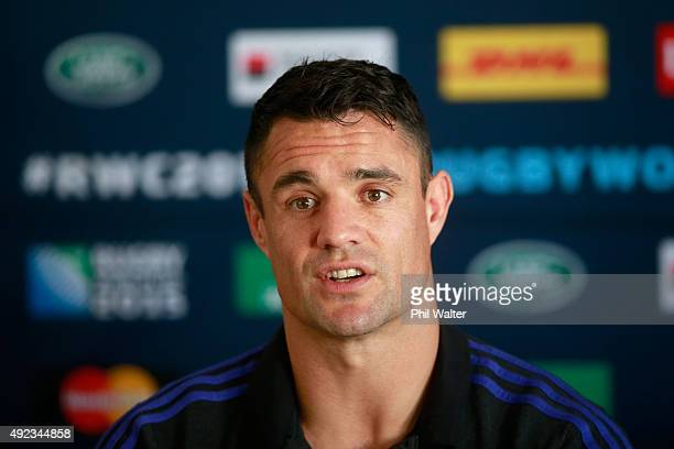 Daniel Carter of the All Blacks speaks during a New Zealand All Blacks media session on October 12 2015 in Swansea United Kingdom