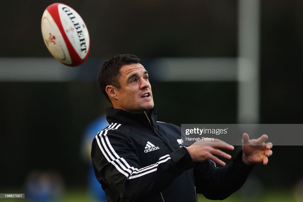 Daniel Carter of the All Blacks warms up during a training session at the University of Glamorgan training fields on November 22, 2012 in Cardiff, Wales.