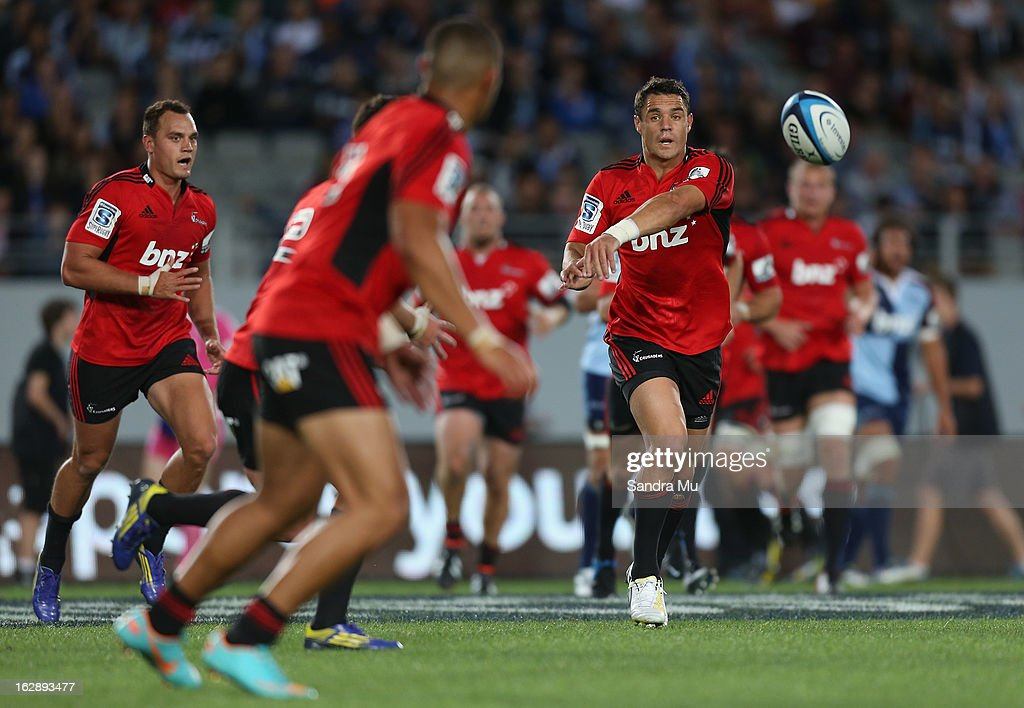 Daniel Carter of the Crusaders passes during the round 3 Super Rugby match between the Blues and the Crusaders at Eden Park on March 1, 2013 in Auckland, New Zealand.