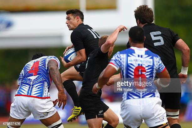 Daniel Carter of the New Zealand All Blacks takes the high ball during the International Test match between Samoa and the New Zealand All Blacks at...
