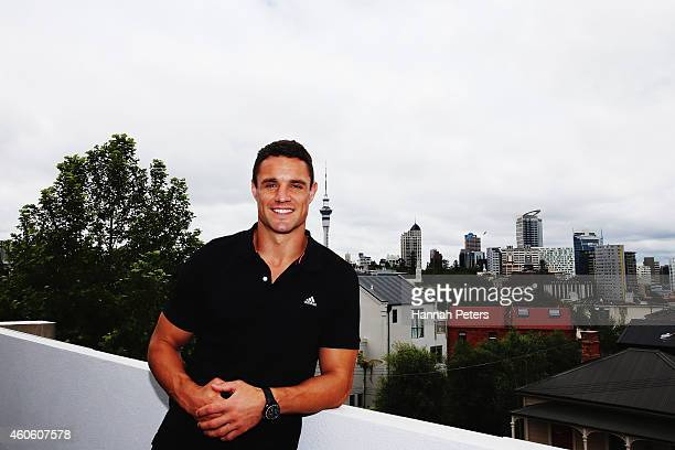 Daniel Carter poses for a photo ahead of a New Zealand Rugby press conference at the Essentially Group offices on December 18 2014 in Auckland New...
