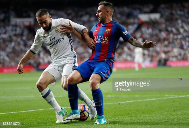 Daniel Carvajal of Real Madrid and Paco Alcacer of FC Barcelona battle for the ball during the La Liga match between Real Madrid CF and FC Barcelona...