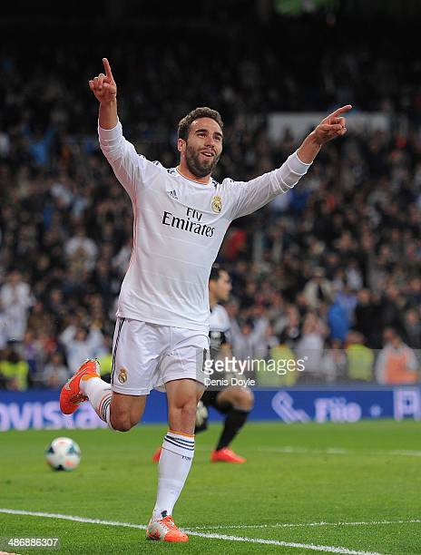 Daniel Carvajal of Real Madrid CF celebrates after scoring Real's 4th goal from a free kick during the La Liga match between Real Madrid CF and CA...