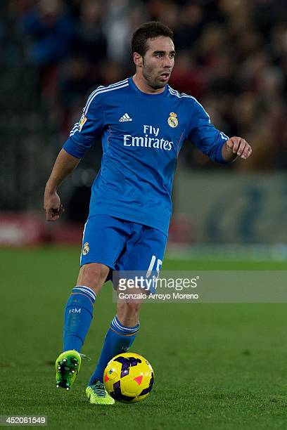 Daniel Carvajal of Real Madrid CF controls the ball with during the La Liga match between UD Almeria and Real Madrid CF at Estadio de Los Juegos...