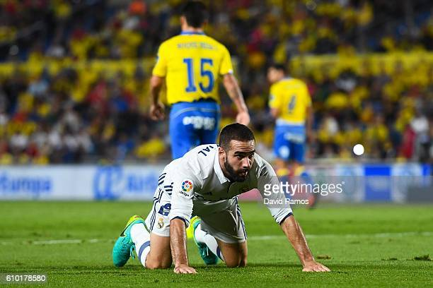 Daniel Carvajal of Real Madrid CF reacts after missing a chance to score during the La Liga match between UD Las Palmas and Real Madrid CF on...